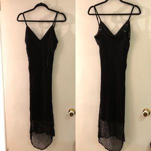 Dresses & Skirts - Stunning Crocheted Black Dress w/scalloped edge